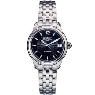 DAVOSA Ladies Delight 經典三針機械女錶-黑/34mm