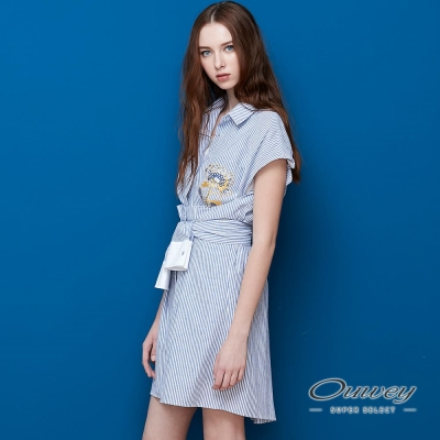 OUWEY歐薇 舒適繡花綁帶條紋洋裝(藍)