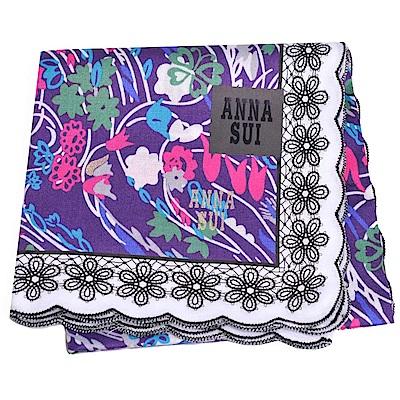 ANNA SUI 優雅荷葉邊繽紛花朵塗鴉字母圖騰金色LOGO帕領巾(紫色底)