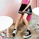 KITTY旅行系列~腰鬆緊線條滾邊棉感短褲-OB大尺碼