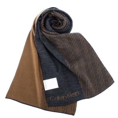 Calvin Klein CK 時尚格點拼色針織圍巾-咖啡灰
