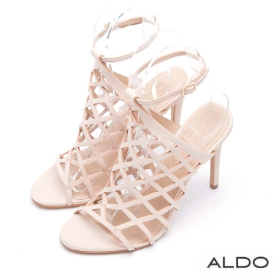 ALDO-原色交叉鏤空繫踝細高跟涼鞋-優雅裸色