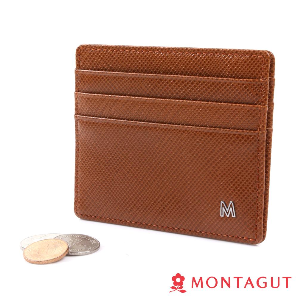 MONTAGUT夢特嬌-簡約雙切紋頭層牛皮名片夾-6卡1磁吸式功能夾-咖啡