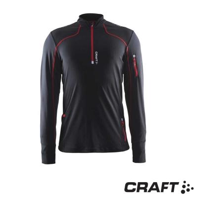 【瑞典 Craft】男款 Trail LS 長袖拉鍊立領中層衣_黑
