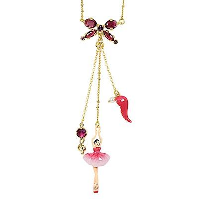 Les Nereides 優雅芭蕾舞女孩系列 漸層粉紅色女孩音符羽毛蝴蝶結項鍊