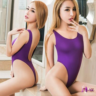 死庫水 深紫色高衩死庫水露背連身衣(紅F) Moira