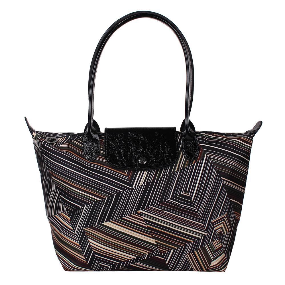Longchamp OP ART幾何風格錯視條紋長提把手提水餃包-小/卡其色LONGCHAMP