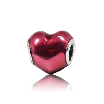 Pandora 潘朵拉 深桃紅琺瑯愛心 純銀墜飾 串珠