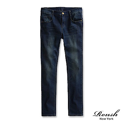 ROUSH 口袋皮標設計窄管刷痕丹寧褲