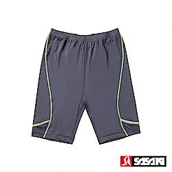 SASAKI 高彈力夜間反光功能田徑緊身短褲-男-深灰/艷黃