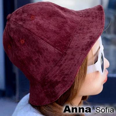 AnnaSofia-直紋燈芯絨-漁夫軟帽-酒紅系