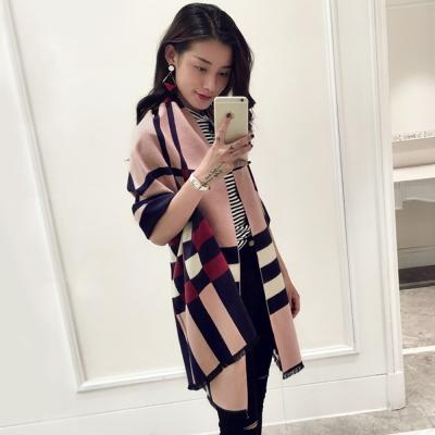 Seoul-Show-愛丁堡撞色格紋仿羊絨圍巾-粉色