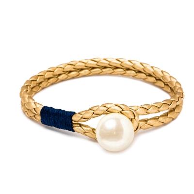 Kiel James Patrick 金色皮革雙層編織單圈珍珠手鍊手環
