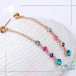 伊飾晶漾iSCrystal 繽紛水滴 多彩水晶垂墬耳環