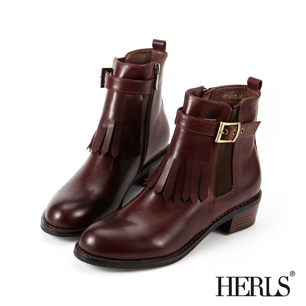 HERLS 外真皮 兩穿釦環流蘇造型粗跟短靴-咖啡色