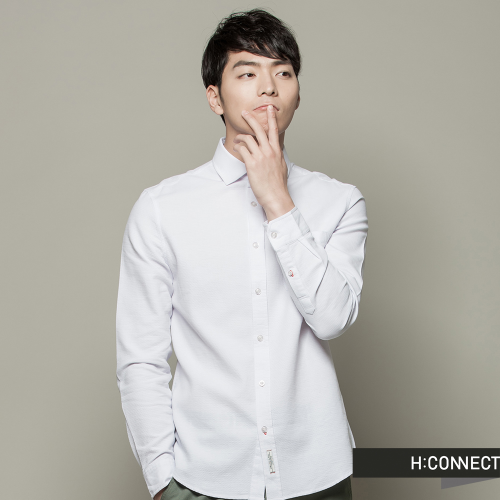 H:CONNECT 韓國品牌 男裝 - 簡約修身立領襯衫 - 白(快)