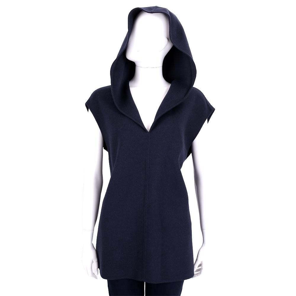 Max Mara 深藍色連帽V領羊毛長版上衣(90%WOOL)