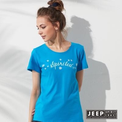 JEEP 女裝 甜美女孩圖騰轉印短袖TEE (亮藍色)