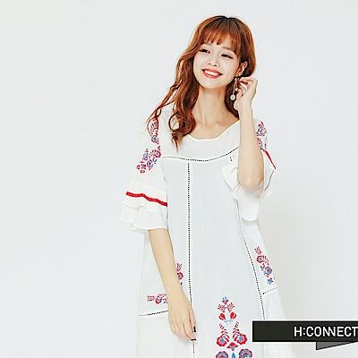 H:CONNECT 韓國品牌 女裝 - 民族風繡花造型洋裝-白