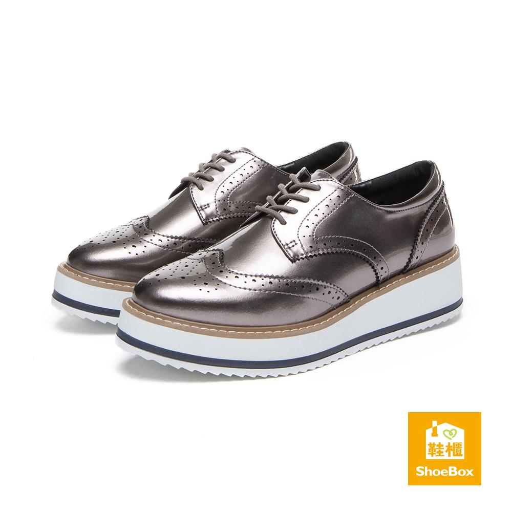 達芙妮DAPHNE ShoeBox系列 休閒鞋-縷空綁帶厚底牛津休閒鞋-錫