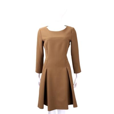 ALBERTA FERRETTI 棕色抓褶剪裁七分袖洋裝