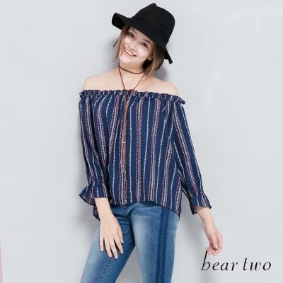 beartwo網路獨家-清新直紋一字領上衣(二色)-動態show