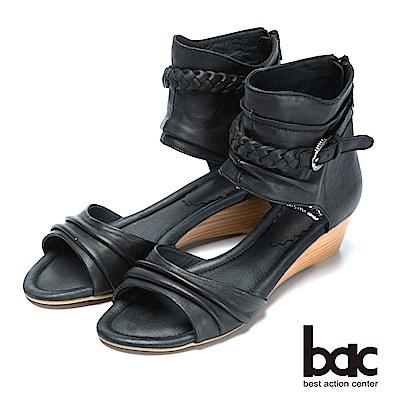 bac復古時尚仿舊真皮編織楔型涼鞋-黑