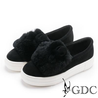 GDC-可愛極Q超熱賣兔兔毛毛休閒鞋-黑色