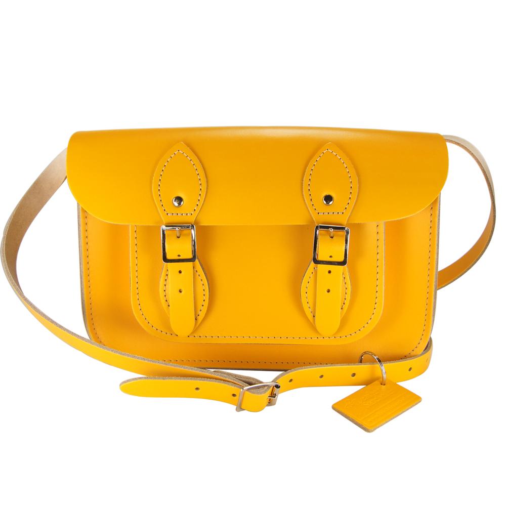 The Leather Satchel 英國手工牛皮劍橋包 肩背 側背包 繽紛黃 11吋