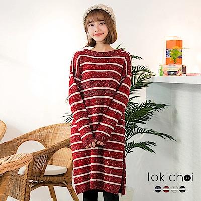 東京著衣 多色百搭雪花條紋開岔長版針織上衣(共四色)