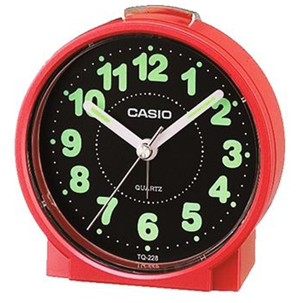 CASIO 鬧鐘桌上圓型指針款鬧鐘(TQ-228-4D)紅x白面