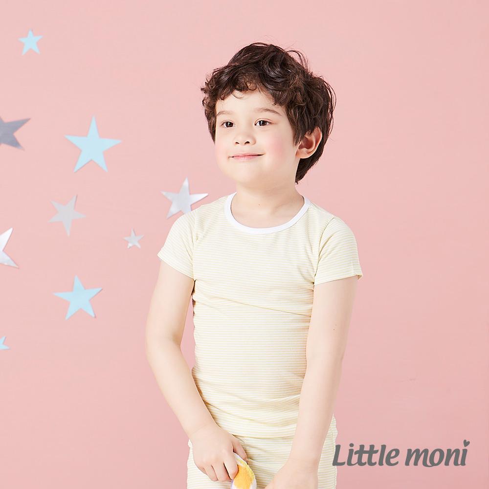 Little moni 涼感系列條紋 短袖上衣  黃色