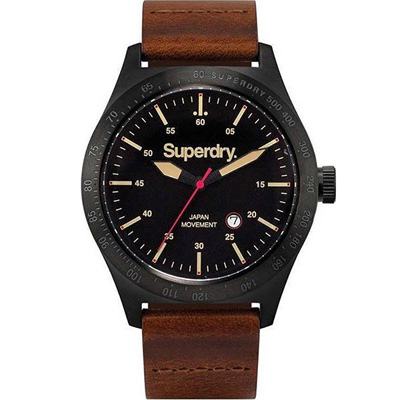 Superdry極度乾燥王者風範時尚手錶-黑X咖啡/44mm