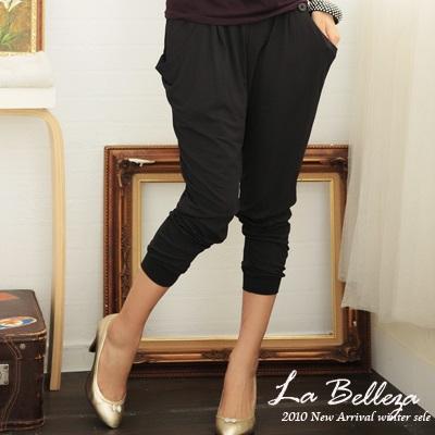 【La Belleza】個性都會‧素面兩釦側口袋九分縮口老爺褲