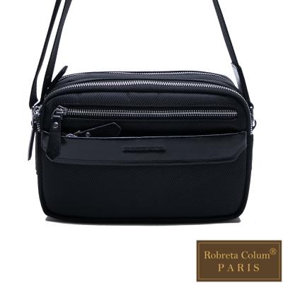 Roberta Colum - 現代雅痞休閒配真皮多隔層口袋側背包(橫)-共<b>2</b>色
