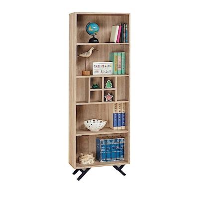 品家居 路易多2尺橡木紋開放式書櫃-60x30x180cm免組