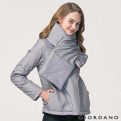 GIORDANO 女裝立領保暖鋪棉外套(附圍脖) - 03 中花灰