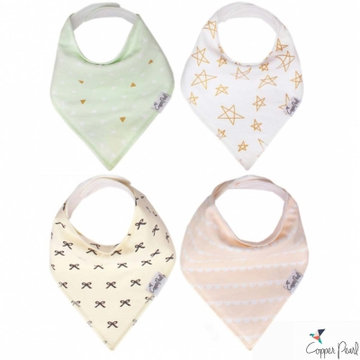 Copper Pearl 美國 巴黎假期雙面領巾圍兜口水巾4件組