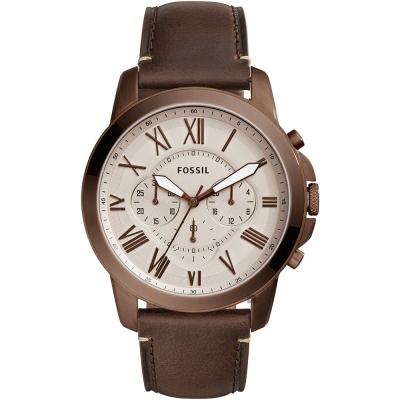 FOSSIL Grant 復刻計時男錶(FS5344)-灰x深咖啡錶帶/44mm