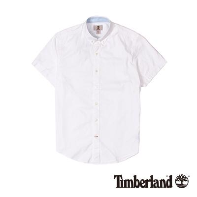 Timberland-男款白色素面刺繡牛津短袖襯衫