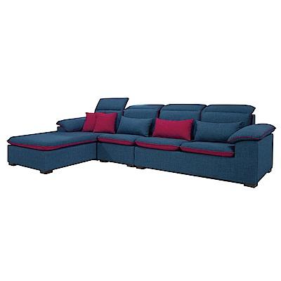 品家居 雅各藍棉麻布L型沙發(左右可選)-260x188x82-免組