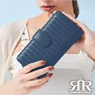 2R 葛瑞絲Grace梭織羊皮壓釦長夾 寶石藍