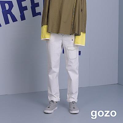 gozo 配色壓線裝飾口袋彈性窄管褲(二色)