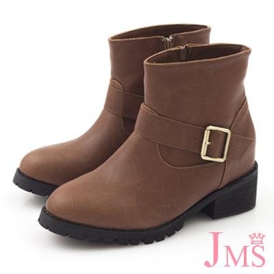 JMS-超人氣百搭單側扣內增高短靴-咖啡色