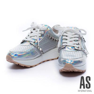 休閒鞋-AS-異材質拼接鉚釘幻彩牛皮綁帶厚底休閒鞋-銀