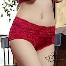 內褲  花漾蕾絲透氣全蠶絲內褲-紅 La Queen