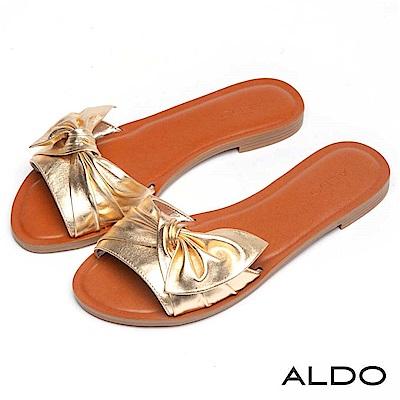 ALDO 原色真皮抽皺蝴蝶扭結木紋粗跟涼拖鞋~名媛金色