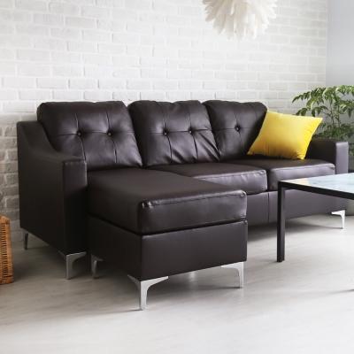 H&D Monica 莫尼卡簡約L型沙發-咖啡色