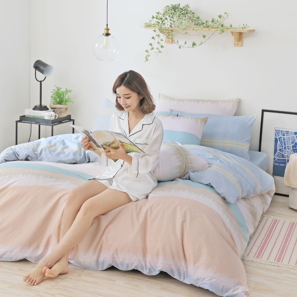GOODDAY-黃昏-纖絨棉-防蹣薄被套床包組(加大)