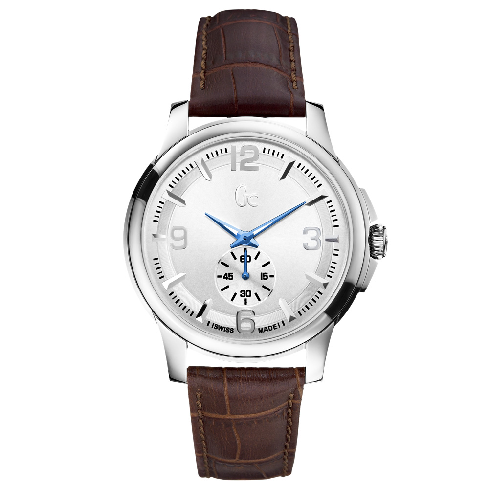 Gc 復古都市時尚紳士腕錶-咖啡銀/42mm